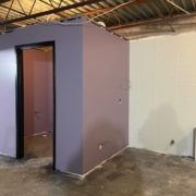 New paint on the new restroom in the Beginners classroom