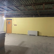 New paint on one wall of the sunday school classroom